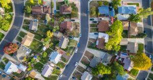Aerial view photograph of neighborhood