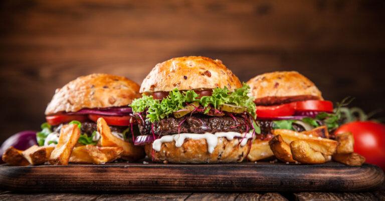 3 Hamburger on cutting board