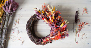 Homemade Wreath with Fall colors