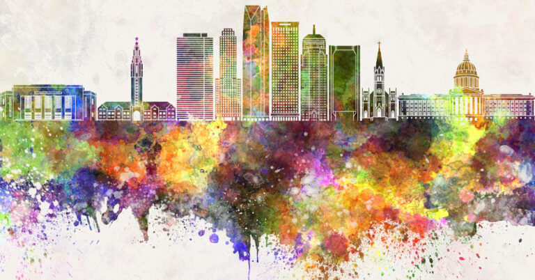 Oklahoma City Skyline in Watercolor