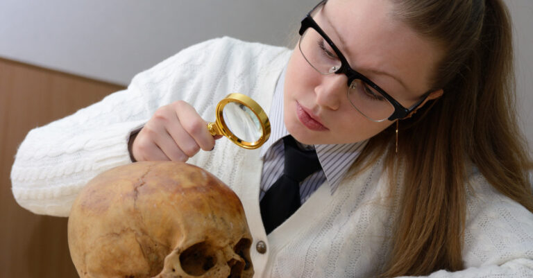 Woman examining a human skull forensic night event