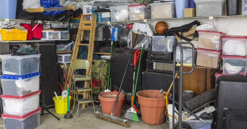 Photograph of cluttered, unorganized garage