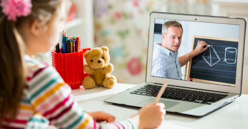 Child taking distance learning courses because of COVID-19 spike in Oklahoma