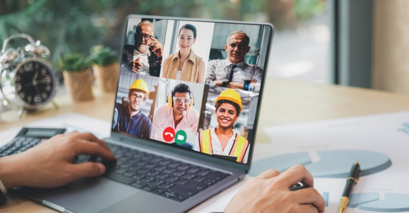 Person working from home on virtual meeting with co workers